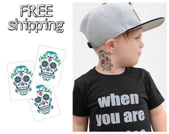 Set of 3 tatts «Sugar skull». Mexican style temporary tattoos with white skull with florals. Halloween party bag supply. TT163