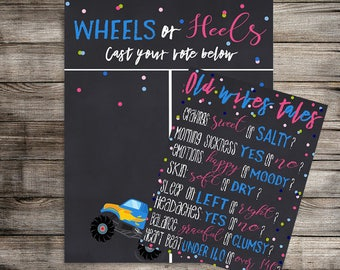 Wheels or Heels Gender Reveal Vote Bundle, Gender Reveal Party, Boy or Girl, What Will Baby Be? Gender Reveal Party -Digital Download