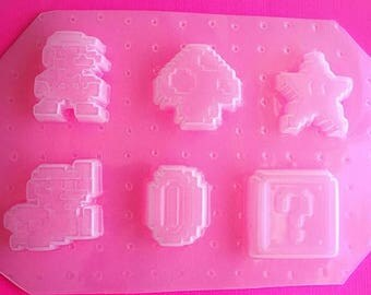 SUMMER SALE 6pc Pixel Mario Video Game Flexible Plastic Mold For Resin Crafts Decoden