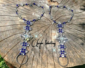 Gothic luminous crystal beaded Barefoot Sandals alternative foot jewelry punk rock beach body jewelry for weddings  gift w/ free shipping