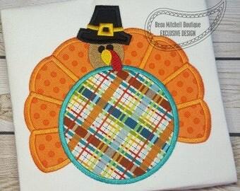 Pilgrim Turkey, Thanksgiving Shirt  Embroidered Toddler T-shirt, Embroidered T-shirt