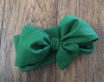 Forest green headwrap, green head wrap, dark green headwrap, girls headwrap, head tie, baby headwrap