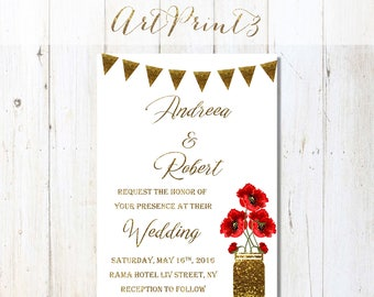Printable Wedding Invitation, Gold Wedding Invitation Printable, Poppies Wedding Invitation, Floral Rustic Printable Wedding Invitation