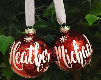 Customize Your Own Personalized Name Christmas Ball Ornaments
