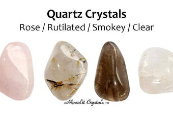 Quartz Crystal Set ~ Rose Smokey Rutilated Clear ~ Healing Crystals and Gemstones ~ Moonlit Crystals ~ Free US Shipping ~ Gift Present