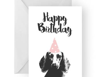 Dachshund blank birthday card- dachshund greeting card, dog card, sausage dog birthday card, cute dog birthday card, Birthday card