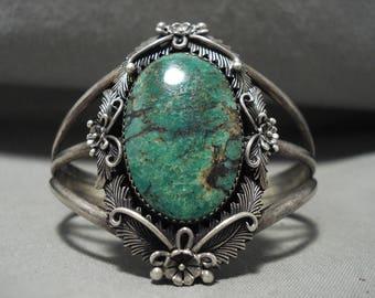 Vivid Vintage Navajo Green Turquoise Silver Bracelet Old