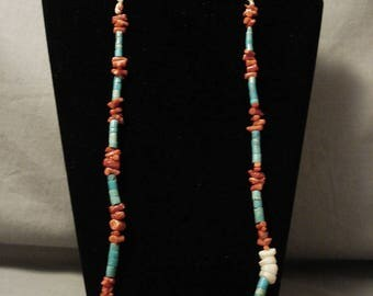 Early 1900's Vintage Santo Domingo/ Navajo Coral Turquoise Shell Necklace