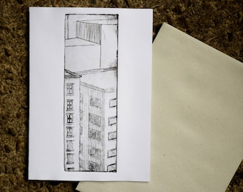 Hand printed Building greeting card