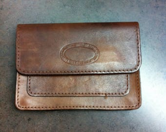 Vintage Leather Pouch - Brown Leather Purse - Travel Wallet - Walking Bag