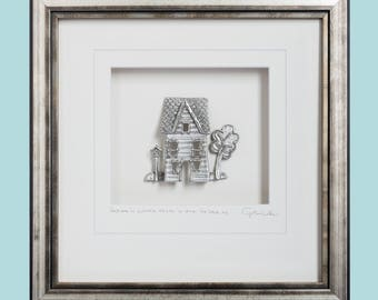 Home is where there is one to love us, Cottage, Pewter, Framed