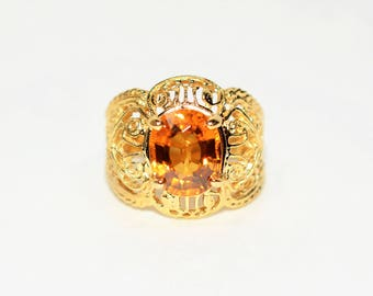 40% OFF SALE with free resizing!! Wow Factor GIA Certified 4.38ct Zircon 14kt Yellow Gold Ring