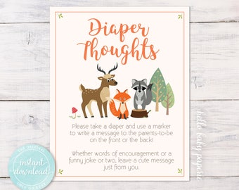 Late Night Diapers - Diaper Thoughts Sign - Woodland Baby Shower Game - Sign a Diaper - Instant Download, Print from Home - WF001