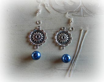 Kit earrings chandelier silver and royal blue bead