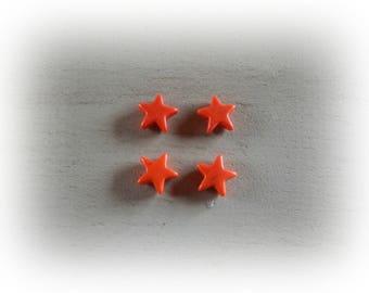 4 beads, 12 mm Orange howlite star
