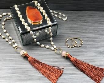 Pearl Long Neckles & Earrings Set