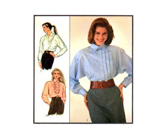 80s Style 1423 Front Buttoned, Raglan Sleeved Blouses with Pleated or Frill Detailing , Uncut, Factory Folded, Sewing Pattern Size 8-10-12