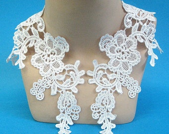 Bright White Lace Appliques, White Applique Pair, White Lace Trim, White Tutu Trim, White Dance Costume, #65