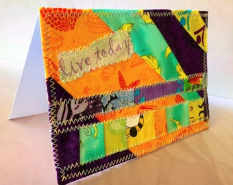 Inspirational 4x6 fabric blank note card suitable for framing