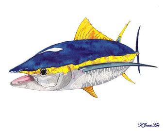 Yellowfin Tuna Watercolor Print, Yellowfin Tuna Painting