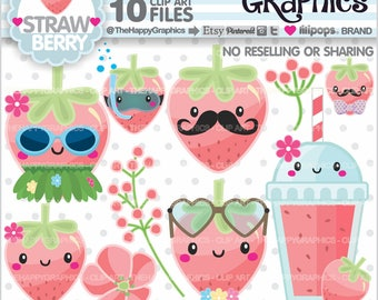 80%OFF - Strawberry Clipart, Strawberry Graphics, COMMERCIAL USE, Strawberry Party, Strawberry Illustration, Summer Clipart, Tropical, Cute