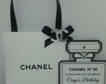 Chanel Shopping Bag Perfume Bottle Invitations Sweet 16 Baby Birthday Party Quinceañera Bridal Shower