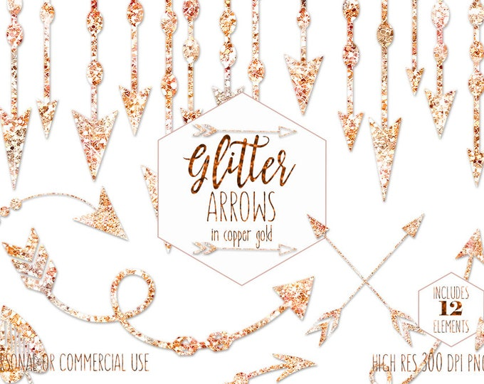 SILVER COPPER & GOLD Arrow Clipart for Commercial Use Clip Art Metallic Tribal Bohemian Wedding Images Boho Chic Invitation Digital Graphics