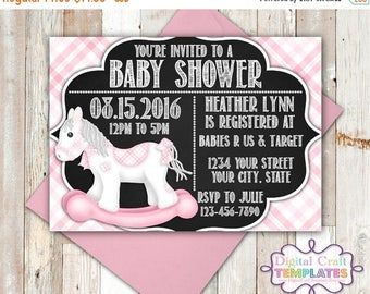 SALE Personalized Printable Invitations | Rocking Horse | Pink | Baby Shower | Birth Announcement |  #334