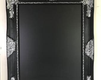Black and Silver Frame, Chalkboard, Magnetic Chalkboard, Ornate Chalkboard, Wedding Seating Chart, Memo Board