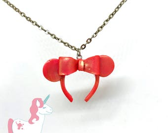 Disney Minnie Mouse Ears pendant necklace rose gold bow