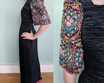 Layaway #1 of 3 for Nafeesah - Vintage Mary McFadden Couture Beaded Gown, Long Black Elegant Evening Dress, Formal Black Tie Gown