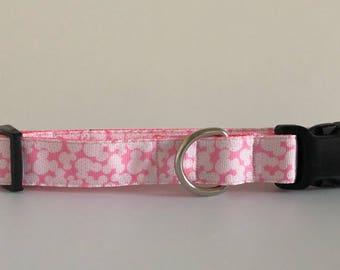 Pink Mickey Head 1 inch Collar