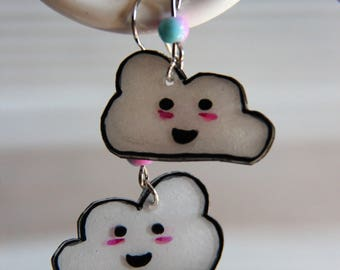 Cloud Kawai crazy plastic earrings