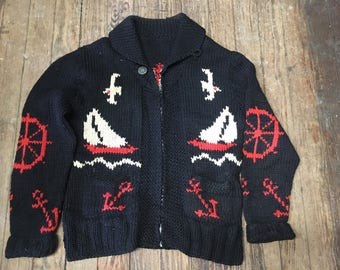 Vintage Nautical themed cowichan style curling Sweater