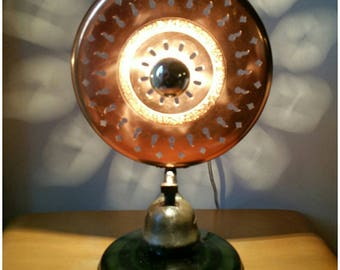 lampe récup Phebus cuivre et verre