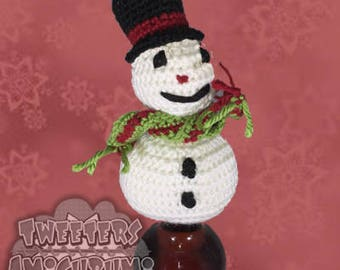 Snowman Amigurumi Crochet Bottle Topper (Wine Topper)