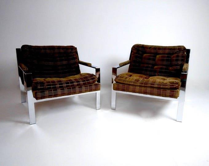 Pair of Mid Century Modern CHROME MILO BAUGHMAN Club Chairs
