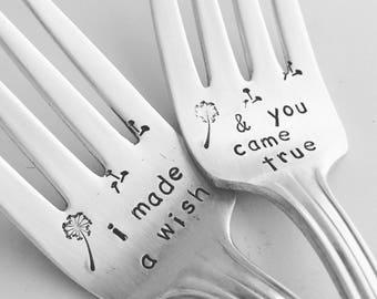 Wedding Forks, I Made A Wish & You Came True,  set of 2 vintage hand stamped silver forks