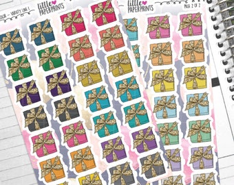 "56 Present Stickers - ""Wrapped Up in Gold"" Stickers - Multi Color Variety Line 1 Decorative Planner Stickers"
