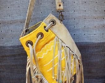 Love Bucket Bag Yellow Batik Kilim Leather Fringes Beads Boho Hand Made