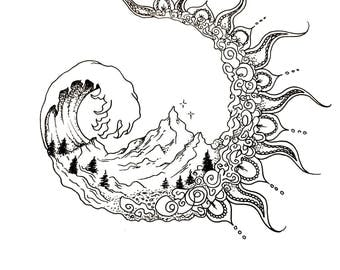 Sun and Moon elements Pen and Ink Print