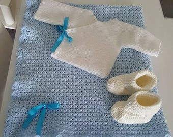 blanket, baby sweater, booties newborn crochet
