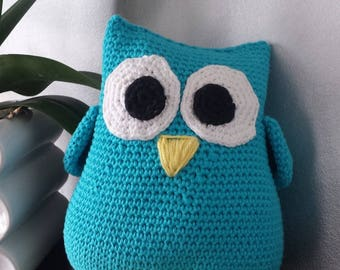 all cotton turquoise blue OWL