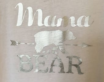 Mama Bear tee shirt women's mama mommy mom custom funny trendy cute comfy soft hip personalize black pink glitter rose gold teal