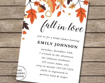 DIY Baby Shower Invite, Autumn, Fall in love, leaf, leaves, baby shower, invitations, Editable, Printable, Instant Download