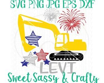 excavator svg, 4th of july svg, Svg files, construction svg, patriotic svg, 4th of July shirt svg, merica svg, SVG, EPS, DXF, PnG, cut file