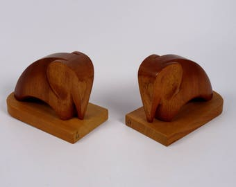 Mid-Century Wooden Bull Bookends