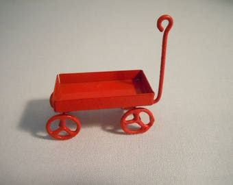Miniature Wagon ~ Red Wagon ~ Toy ~ Play Room ~ Child's Wagon ~ Dollhouse ~ Accessories ~ Fairy Garden ~ Diorama