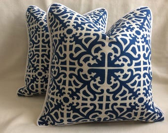 """Set of Designer Pillow Covers - Williamsburg inspired """"Parterre"""" design - Blue/ White - Custom Piping - 18x18 Covers"""