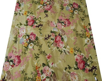 """Greenish Beige Fabric, Quilt Fabric, Floral Print, Upholstery Cotton Fabric, Dressmaking Material, 41"""" Inch Fabric By The Yard ZBC4050"""